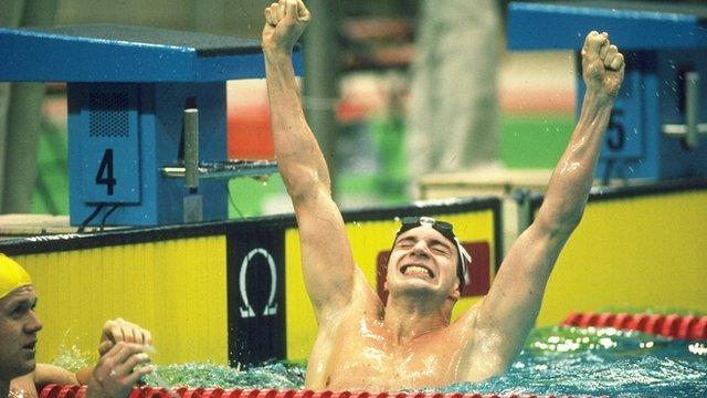 Adrian Moorhouse celebrates Olympic gold