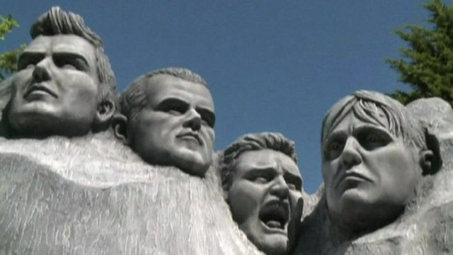 Sculpture of, left to right, David Beckham, Wayne Rooney, Gaza and Stuart Pearce