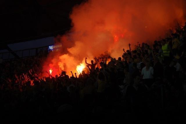 Inside the Metalist football stadium in Ukraine