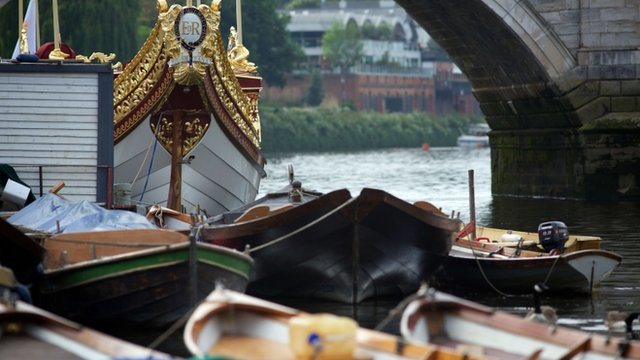 "The Queen""s rowbarge 'Gloriana' that will head a section of the Thames Diamond Jubilee River Pageant"
