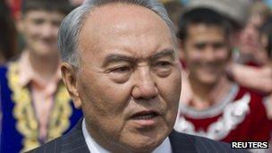 Kazakh president Nursultan Nazarbayev in Almaty, 1 June 2012