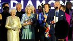 Prince Charles appears on stage with his mother, the Queen