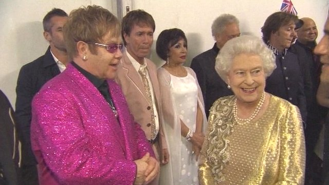 Elton John with The Queen