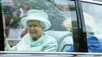 Queen Elizabeth II with Diana Marion, The Lady Farnham, are driven down the Mall on her way to Saint Paul's Cathedral
