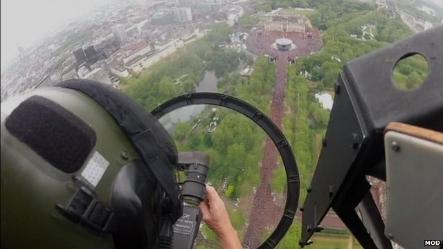 Pilot's view from plane on flypast over Buckingham Palace