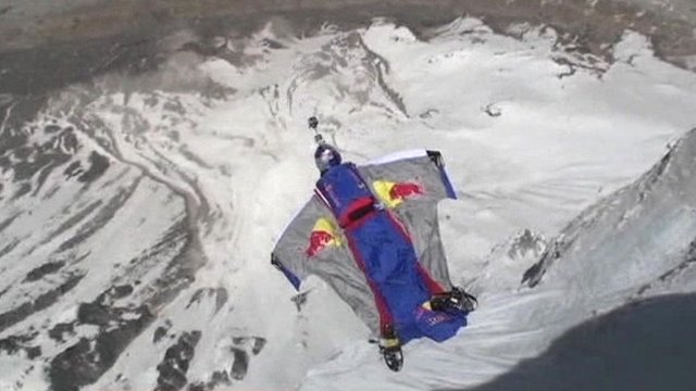 Valery Rozov jumps from the top of Shiving Mountain in the Himalayas