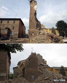 A composite image: (Top) A clock tower split in half following an earthquake in Finale Emilia. (Bottom) The remaining section of the clock tower collapses following an aftershock
