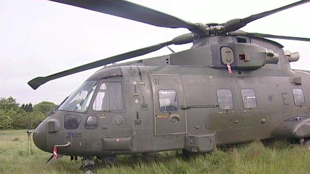 RAF Merlin helicopter in Stanwick field