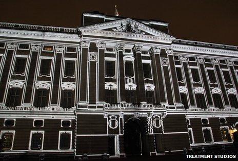 Images projected onto Buckingham Palace