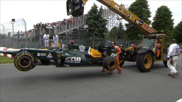 Heikki Kovalainen's Caterham is carried away