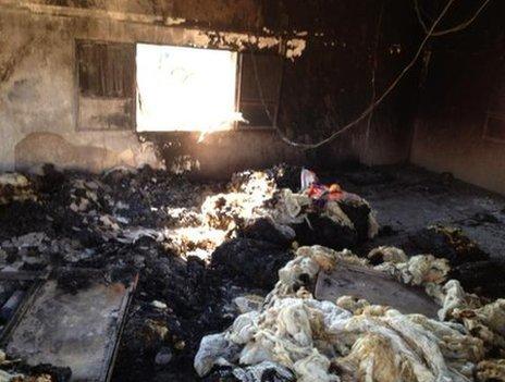 A devastated house in Qubair, Syria, 8 June