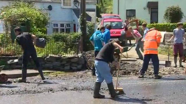 Talybont flood clean up
