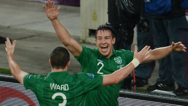 Sean St Ledger celebrates his Ireland equaliser