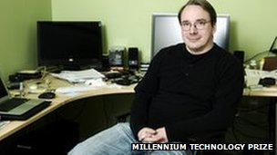 Linus Torvalds in front of computers