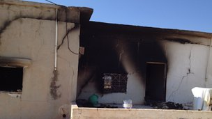 Attacked house in Qubair