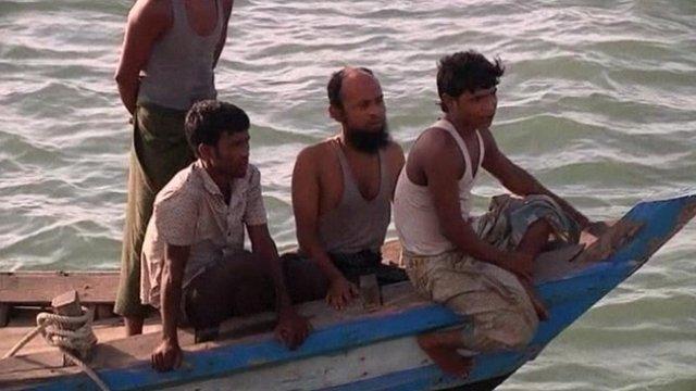 Boat carrying Burmese refugees