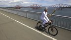 Mark Beaumont on the Forth Road Bridge