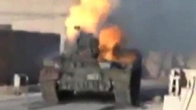 Syrian tank on fire