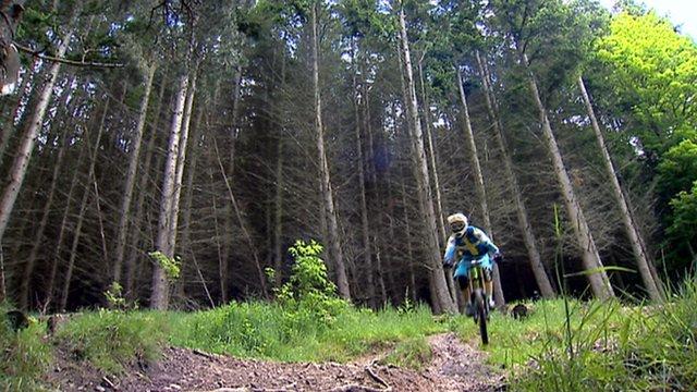 Biker at Traquair Forest