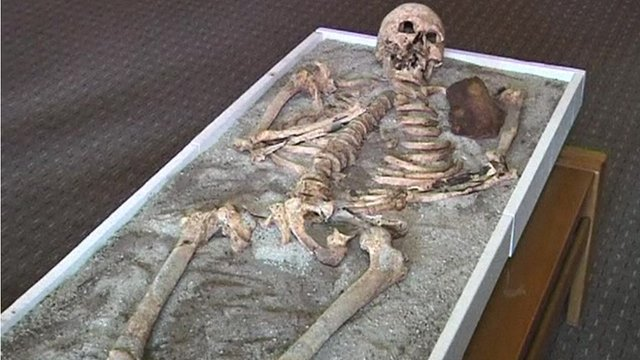 The suspected vampire's skeleton on display at Bulgaria's National History Museum