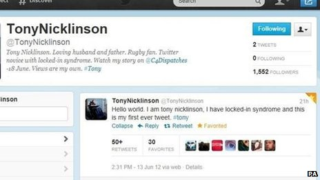 Tony Nicklinson's Twitter page