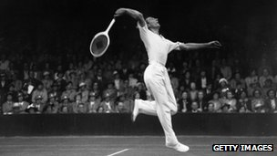 Fred Perry playing at Wimbledon in 1936