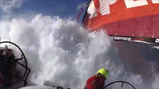Camper skipper Chris Nicholson is floored by a huge wave
