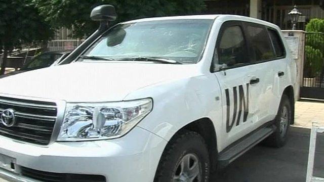 UN vehicle in Syria