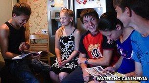 Artem and his foster siblings at home in Kolomak