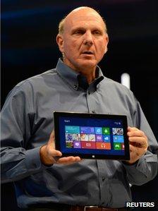 Steve Ballmer holds Surface tablet