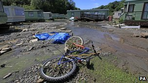 Flooding damage at a caravan site in mid Wales