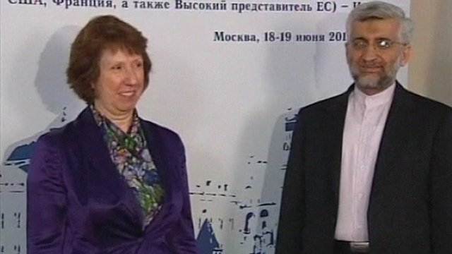 EU foreign policy chief Catherine Ashton and Iranian negotiator Saeed Jalili