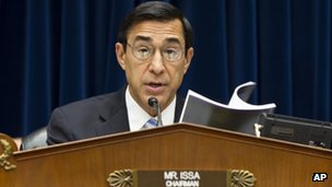 Congressman Darrell Issa at House Oversight Committee vote on holding Eric Holder in contempt of Congress 10 June 2012