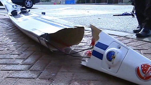 Damaged surf ski
