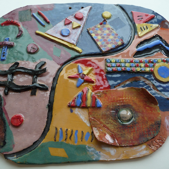 """Seaside Plate"" gan Katie Wooldfield, 16, o Ysgol Alderman Knight"