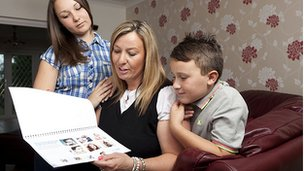 Mother with children looking at body image pack