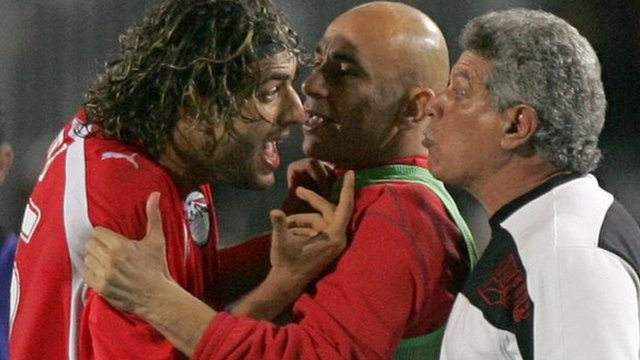 Ahmed 'Mido' Hossam and then Egypt coach Hassan Shehata clash during the 2006 Africa Cup of Nations