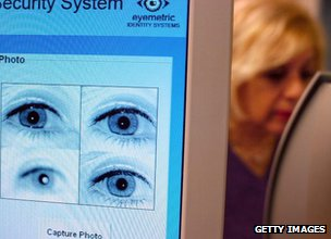 Teacher has her eyes recorded for iris recognition technology in a New Jersey school
