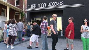 Crowds outside Third Man Records