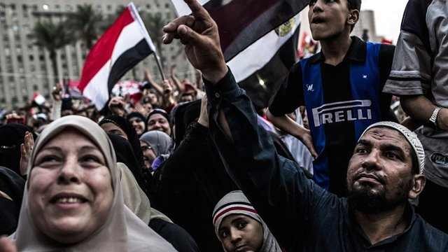 """Supporters of the Muslim Brotherhood""""s candidate gather in Cairo"""