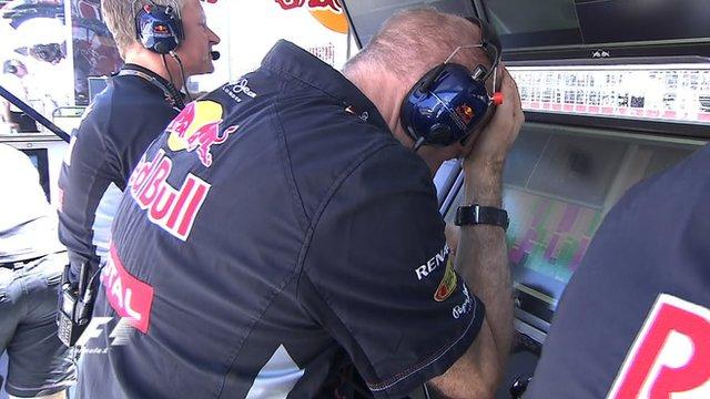 Red Bull's Adrian Newey reacts to Sebastian Vettel's race exit