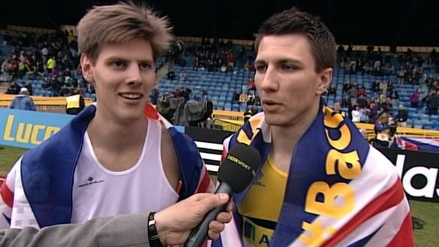 Lawrence Clarke and Andrew Pozzi after sealing qualification for the 2012 London Olympics