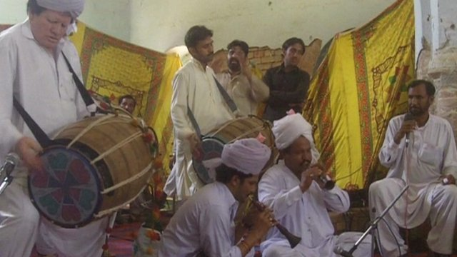 Musicians participating in competition in Dera Ismail Khan