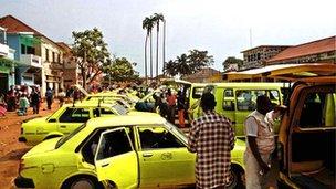 Taxi rank in Sao Tome