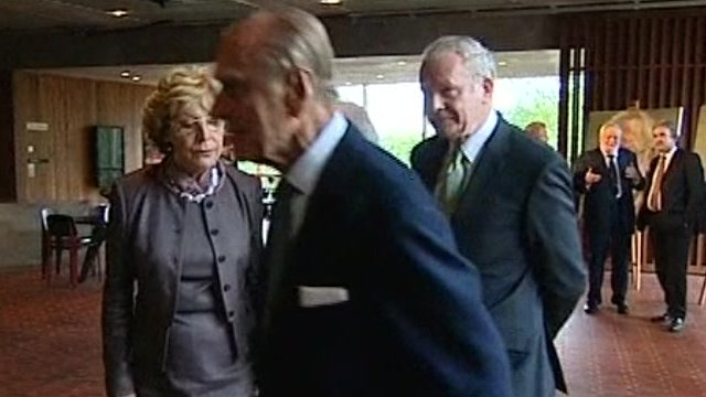 Prince Philip walks away from Martin McGuinness