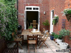 Paved garden of a terraced house