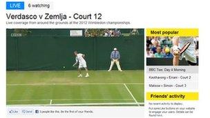 Screenshot of Wimbledon live on Facebook