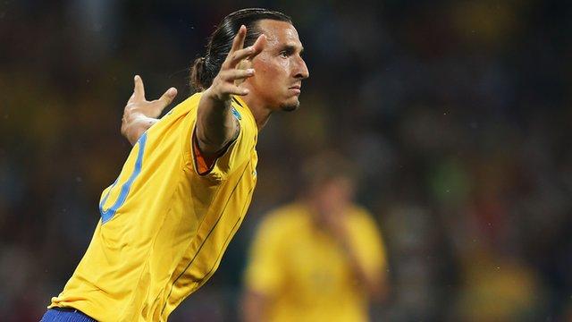 Zlatan Ibrahimovic scores for Sweden