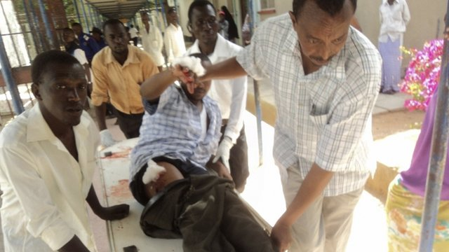 A worshipper injured during an attack inside the African Inland Church