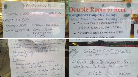 Various adverts for rooms to rent, specifying desired race of potential tenant